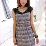 เดรสแขนสั้นลายเสือดาวสีเทา JackGrace charm! Leopard lace stitching dress
