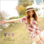 [Preorder] เสื้อแฟชั่นแขนสั้นตุ๊กตาลายดอกไม้ สีขาว Ribbon flowers printed waist coat