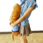 ตุ๊กตาฮิปโป หน้าตากวนๆๆๆ ประกอบซีรี่ย์ Smile again ขนาดเล็ก 0.85 เมตร เสื้อสีฟ้า