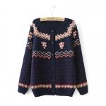 [Preorder] คาร์ดิแกนแฟชั่นแขนยาวลายหัวใจเล็กประดับดอกไม้ สีน้ำเงิน 2014 new fall fashion European style hand-crocheted flowers pastoral style cardigan sweater round neck long-sleeved shirt