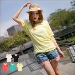 [Preorder] เสื้อแฟชั่นแขนสั้นด้านหลังปักลวดลายเก๋ๆ สีเหลือง Houbuleisi stitching sweaters