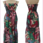 Maxi dress สายเดี่ยวลายดอกไม้สีม่วง Spring and summer of 2012 the new Women Korean bohemian tie-dye color flower harness dress