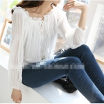 [Preorder] เสื้อแฟชั่นแขนยาวคอวี สีขาว 2013 Hitz Women Korean Shopping fungus necking low V-neck lantern sleeve chiffon shirt female long-sleeved T-shirt merchandise link Copy