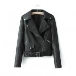 [Preorder] เสื้อแจ๊กเก็ตหนังแฟชั่นแขนยาวสไตล์ยุโรป สีดำ (ไซส์ S M L XL) 2015 Autumn new European style ladies lapel washed PU leather short paragraph Slim leather jacket coat female