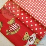 เซตผ้าฝ้ายโทนสีแดง (1/8 หลา ) 3 ชิ้น