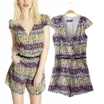 [Preorder] จั๊มสูทแฟชั่นแขนสั้นคอวี แบรนด์ ASOS ลายดอกไม้สีน้ำเงิน (ไซส์ S M L) ASOS MICN 2014 summer new European style ladies getting pretty floral print short-sleeved V-neck piece pants shorts