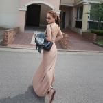 [Preorder] เดรสแฟชั่นแขนกุดเว้าหลัง สีนู๊ดเบจ 2013 spring and summer temperament sexy halter vest dress Slim put on a large super good quality