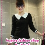 เสื้อแขนยาวแฟชั่นสีดำ 2012 spring new Women lady pearl collar lapel long-sleeved sweater knitted cotton long-sleeved T-shirt
