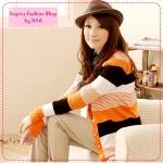 [Preorder] คาร์ดิแกนแฟชั่นแขนยาวลายขวางสลับสี สีส้ม striped long knit jacket gold buckle