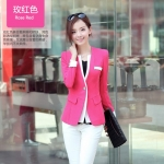 [Preorder] เสื้อสูททำงานแฟชั่นแขนยาว สีหวานสดใส สีชมพู (ไซส์ M L XL XXL) 2015 Spring and Autumn new Women Miss Han Ban long paragraph autumn new long-sleeved Slim small suit jacket