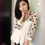 เสื้อแฟชั่นแขนยาวลายจุดสีขาว Spring and summer of 2012 the new Women Korean sweet dot stitching long-sleeved chiffon shirt