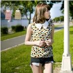 [Preorder] เสื้อชีฟองแฟชั่นแขนกุดลายจุดสีสดใส สีส้ม The collar piece geometry Chiffon vest