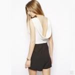 [Preorder] จั๊มสูทแฟชั่นแขนกุดสไตล์ยุโรป คอวี สีขาวดำ (ไซส์ XS S M L XL XXL) Swing back deep V-neck soft stretch black and white color women hit piece pants shorts haoduoyi