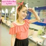 [Preorder] เสื้อแฟชั่นแขนสั้นเปิดไหล่ระบายช่วงบนสีส้ม new female summer strapless shoulder cover meat, lotus leaf, wood ear, solid color chiffon shirt