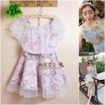 [Preorder] เซ็ทเสื้อ + กระโปรงลายดอกไม้ สีชมพู Summer flower print strapless organza blouse floral blouse + gauze tutu skirt three-piece suit