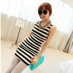 [Preorder] เดรสแฟชั่นแขนกุดสำหรับสาวไซส์เล็ก ลายขวาง สีดำขาว 2013 summer new super wild multicolor Korean Women Long Vest