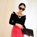 [Preorder] เสื้อแขนยาวแฟชั่นเปิดไหล่ สำหรับสาวไซส์เล็ก สีดำ (ไซส์ S M) 2014 Korean version of the influx of boat neck strapless long-sleeved t-shirt Slim female
