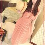 เดรสยาวแขนกุดระบายด้านหน้าสีชมพู 2012 summer beach holiday essential! Bloom light Mature Pleated temperament dress (Preorder)