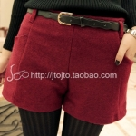 [Perorder] กางเกงขาสั้นแฟชั่น พร้อมเข็มขัดเก๋ๆ สีแดง Keren ~ 2012 new winter sweet wave belt ladies' casual pants woolen shorts