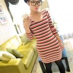 [Preorder] เดรสแฟชั่นแขนยาวลายขวางคอวี (สำหรับสาวไซส์ S และ M) สีชมพู JackGrace colorful striped stretch dress three color
