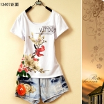 [Preorder] เสื้อยืดแฟชั่นแขนสั้นสกรีนลายนกสีแดง Women students every day special printing adolescent girls summer 2013 summer Korean version of the cute flowers T-shirt