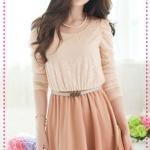 เดรสแขนยาวผ้าลูกไม้สีส้มพร้อมเข็มขัด Belt fence stitching dress (พร้อมส่ง)