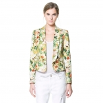 [Preorder] เสื้อสูทแฟชั่นแขนยาวสไตล์ยุโรป แบรนด์ ZARA ลายดอกไม้สีเขียว (ไซส์ S M L) ZARA2014 Hitz European and American women's one button printing Slim Short leisure suit jacket suit