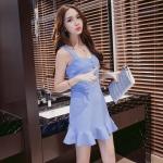 [Preorder] เดรสแฟชั่นสไตล์เรโทร สีฟ้าอ่อน (ไซส์ S M L) 2016 spring and summer new Korean women floral camisole dress Slim thin bottoming dress tutu