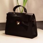 Axixibag กระเป๋าถือแฟชั่นสีดำแต่งโบว์ใบใหญ่ แบบฝาเปิด มีสายสะพายยาว