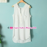 เสื้อแฟชั่นแขนกุดคอวีสีขาว Summer new female Korean fashion V-neck sleeveless shirt candy color sleeveless wild shirt Code