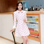 [Preorder] เดรสทำงานแฟชั่นแขนยาวสไตล์เกาหลี สีชมพู (ไซส์ S M L XL) 2014 autumn new Women Korean temperament Slim was thin fashion casual print dress