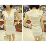 [Preorder] เดรสแฟชั่นลูกไม้แขนสั้นคอวี สีขาว 2013 new spring super sexy V-neck lace elastic lace shirt Slim primer shirt