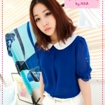 [Preorder] เสื้อแฟชั่นแขนสามส่วนตุ๊กตาสีน้ำเงิน beautiful recommend to hit color doll button chiffon shirt collar open