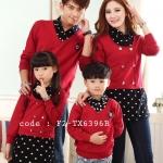 ชุดครอบครัว พ่อแม่ลูก เสื้อครอบครัวแขนยาวแต่งหลอกเหมือนใส่ 2ชิ้น ลายหัวใจ สีแดง (ราคา 3 ตัว พ่อ แม่ ลูกสาว) - pre order