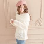 [Preorder] เสื้อกันหนาวแฟชั่นแขนยาว สีขาว Large lapel hollow hook knitting word
