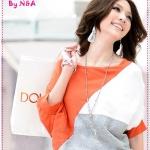 เสื้อ แฟชั่นแขนยาวสีส้ม 2012 spring and summer women's new Korean version of the new loose bat sleeve tri-color stitching short-sleeved round neck t-shirt