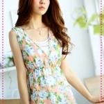 [Preorder] เสื้อแฟชั่นแขนกุดคอวีลายดอกไม้สีส้ม Shuttleworth sold 50% off the original * summer romantic *