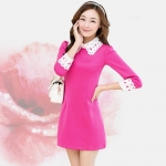 [Preorder] เดรสทำงานแฟชั่นสไตล์เกาหลี สีบานเย็น (ไซส์ S M L XL XXL) 2014 Hitz Korean version of large size women career Sleeve Slim thin dress child doll collar Spring