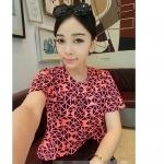 [Preorder] เสื้อแฟชั่นแขนสั้นรับลมร้อนสีสดใสลาย geometric สีชมพูเรืองแสง Korea fluorescent colors geometric short-sleeved T-shirt