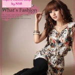 [Preorder] เดรสแฟชั่นแขนสั้นลายดอกไม้สีส้ม + เข็มขัด Floral dress with belt