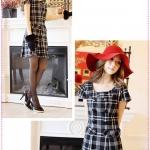 เดรสแขนสั้นลายตารางสีดำ Chest-breasted Plaid woolen dress Tokyo Fashion 100%