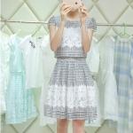 [Preorder] เดรสแฟชั่นแขนกุดประดับลวดลายเก๋ๆ สีขาวดำ (ไซส์ S M L XL 2XL 3XL) 2015 Slim chiffon dress women's summer dress tide suit summer long section piece fitted skirt tutu