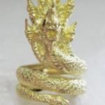 สินค้าเลิกผลิตค่ะ แหวนพญานาค7เศียรเนื้อทองเหลือง ประดับพลอยสีแดง เสริมอำนาจ คุ้มครองค่ะ
