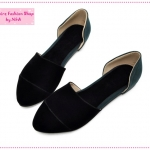 [Preorder] รองเท้าแฟชั่นส้นเตี้ยสีดำ Korean version of the 2012 spring new shoes