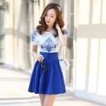 [Preorder] เดรสแฟชั่นแขนสั้นกระโปรงบาน ปักลายเก๋ๆ สีน้ำเงิน (ไซส์ S M L XL 2XL) 2015 Korean version of the new women's dress Slim thin short pleated skirt embroidered chiffon dress