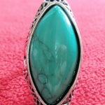 สินค้าหมดค่ะ แหวนหินเทอร์ควอยส์สีเขียว โรเดียมสีเงิน(มีโชค)แบบ3ค่ะ