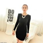 [Preorder] เดรสทำงานแฟชั่นแขนยาวสำหรับสาวไซส์เล็ก สีดำ 2013 winter new Korean Women long-sleeved knit dress waist hems fresh