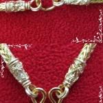 สร้อยคอทองลายกระดูกงูสี่เสาทำจากเหรียญ25,50ส.ต(ใส่พระได้ 3 องค์)ค่ะ