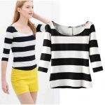 [Preorder] เสื้อแฟชั่นแขนสามส่วนลายขวางสีขาวดำ (ไซส์ S M L) ZARA MICN summer 2014 new European and American women's striped stretch cuff Slim T-shirt