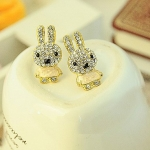 ต่างหูแฟชั่นเกาหลี Cute full of drilling Rabbit earrings (yellow)